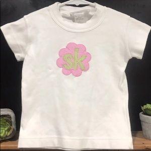 Hannah Kate White Tee Pink Flower Monogrammed SK